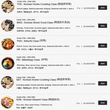 Daftar menu setiap hari